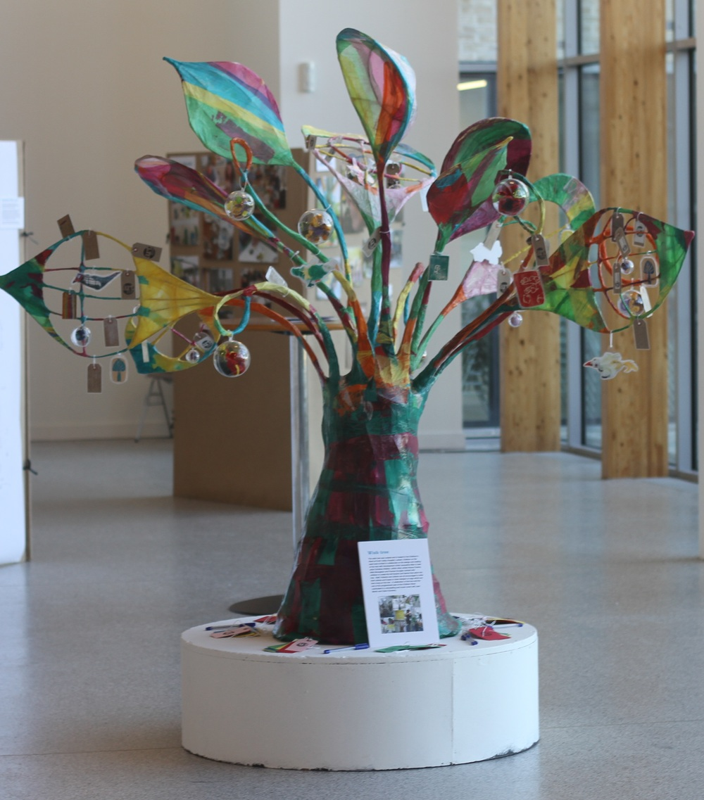 Artists worked in the children's ward to support patients to create a wishing tree that is now used by playworkers as an evaluation tool as well as being an art feature in the ward