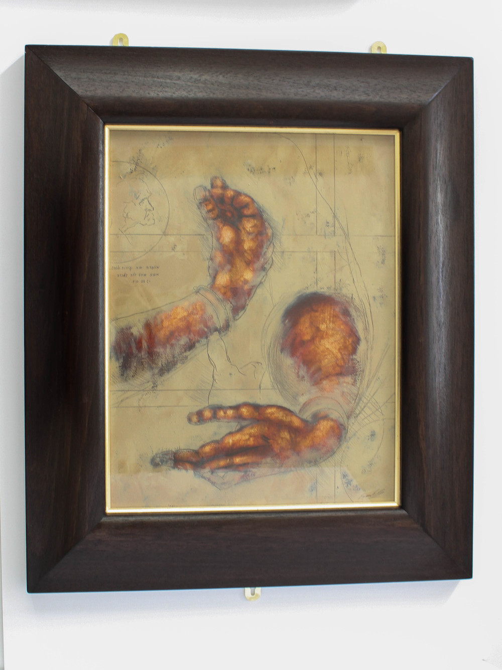 LOT 17 Frank To After Da Vinci – Study of Woman's Hands Oil on Paper