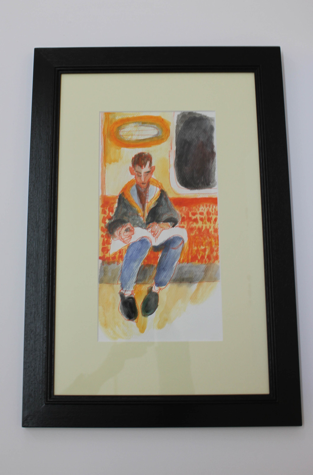 LOT 31 Sally Booth Man on Clockwork Orange Ink and Watercolour on Paper