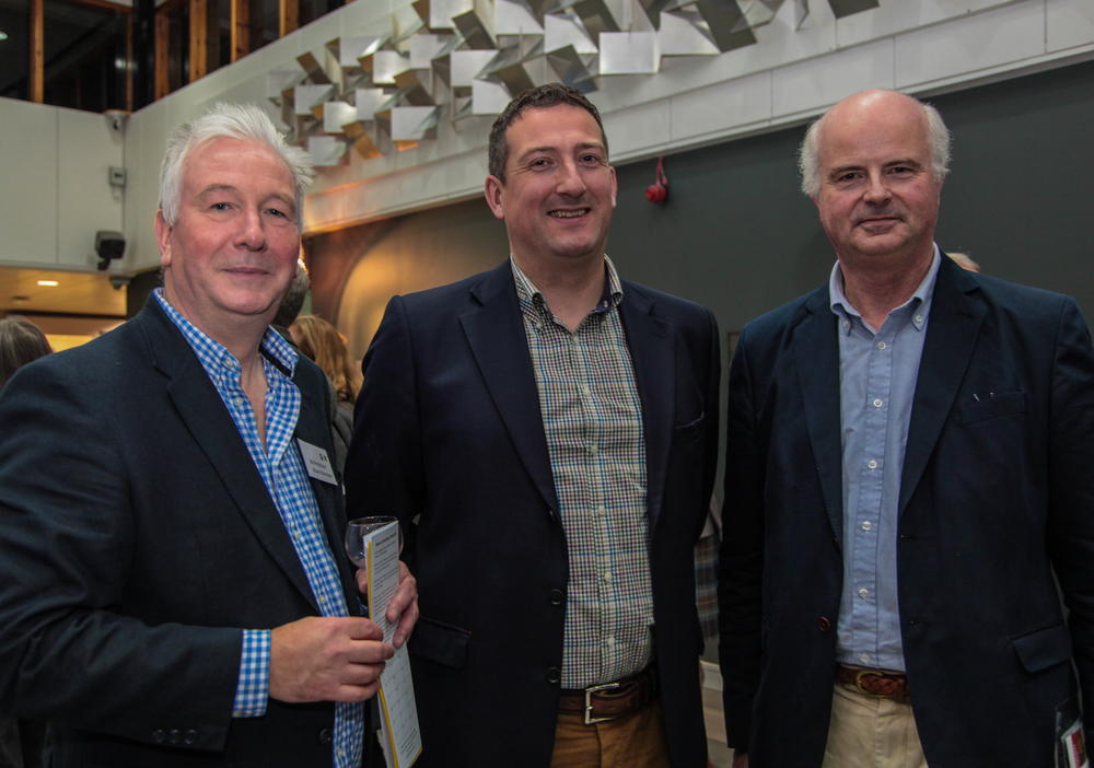 Sponsors of the evening: Smith and Williamson's Graeme Brock and Bell Ingram's Alasdair Reynolds alongside Artlink Central's Bill Pritchard. Photograph copyright Janie Meikle Bland www.picturethepossible.co.uk — at University of Stirling.