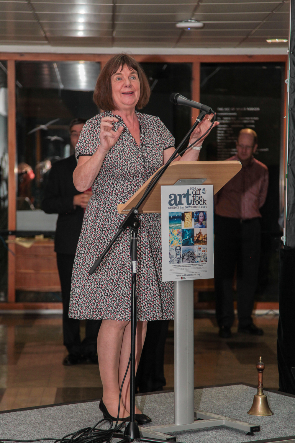 Artlink Central's Patron Julia Donaldson welcomes guests to Art off the Rock