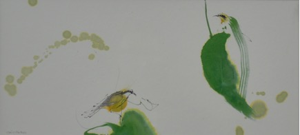 Lot 1 - Caribbean Leaves and Bananaquits by Claire Harkness RSW