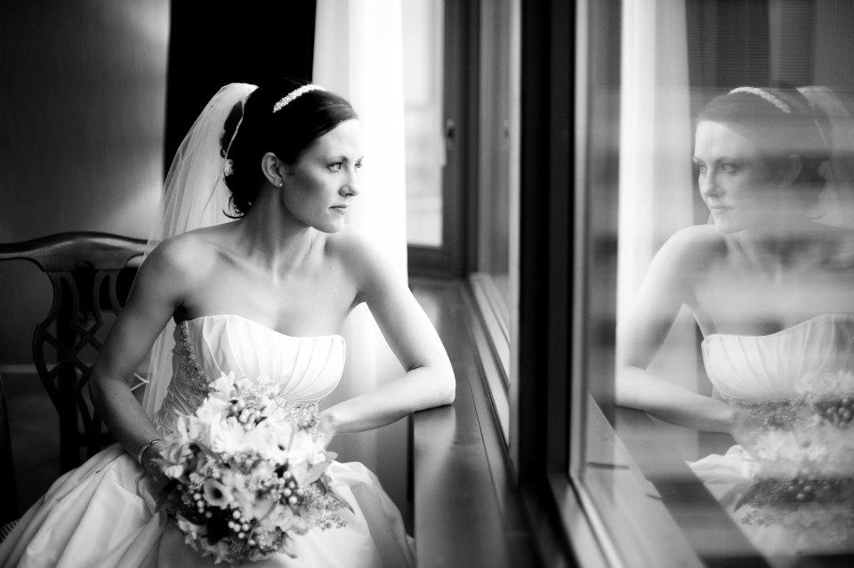 I love this photo!  The Bride having a few minutes to herself.
