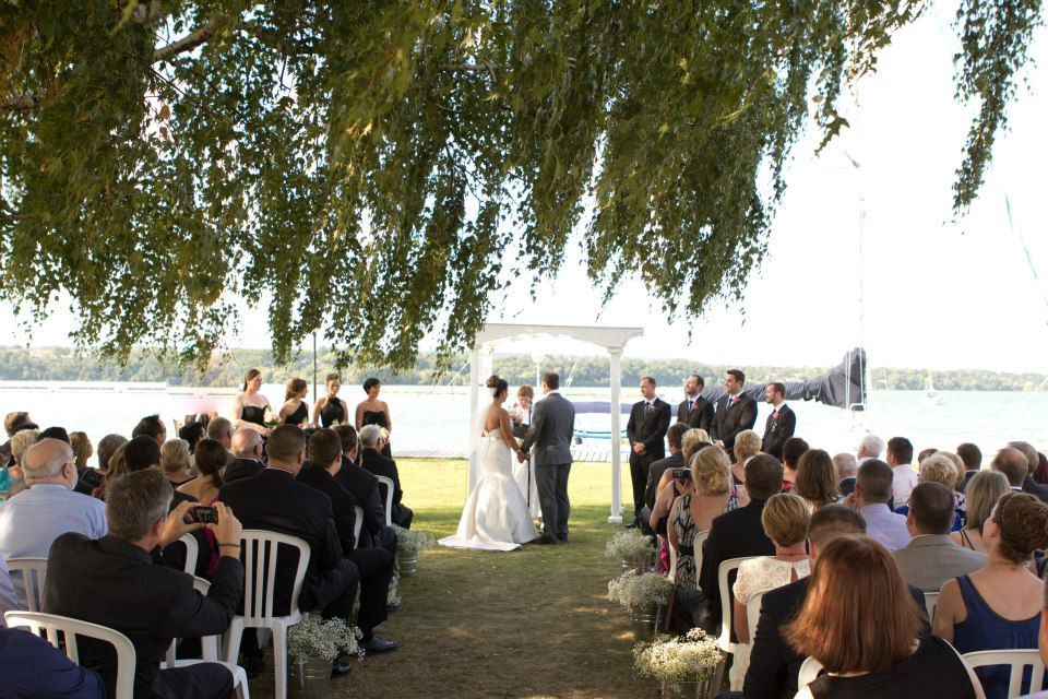 beautiful garden ceremony by the water!