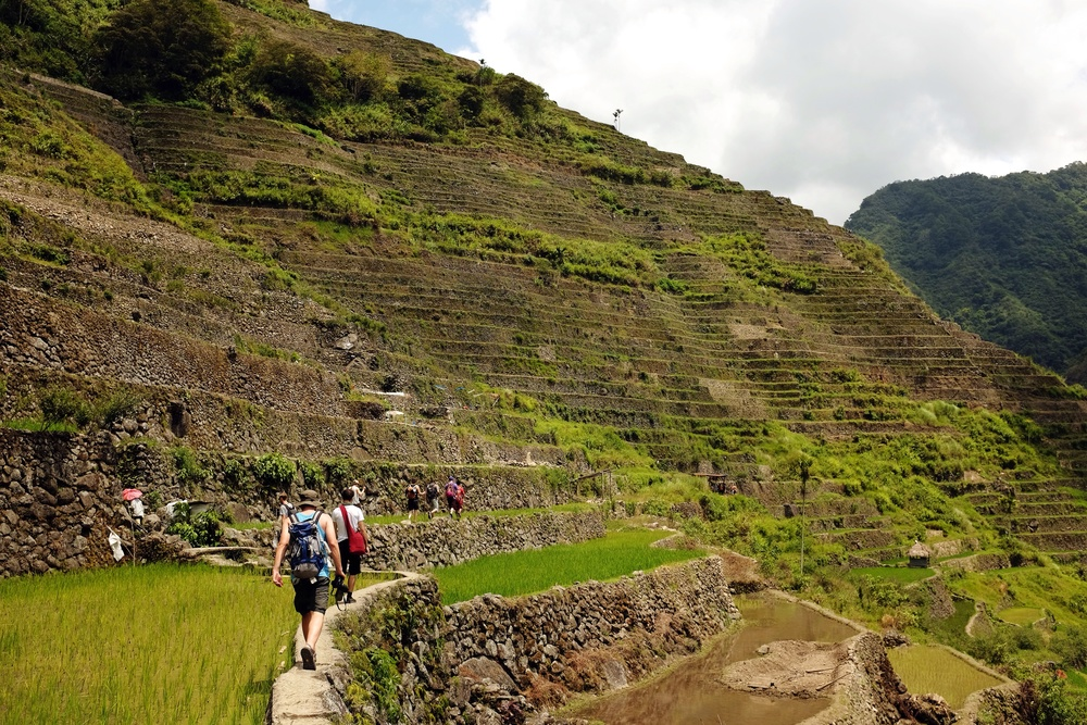 The tour group as we trekked across the terrace dikes in Batad.