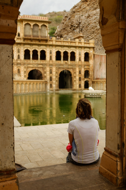 Sacha reflecting on the lower pool. / Jaipur, India / May 2014