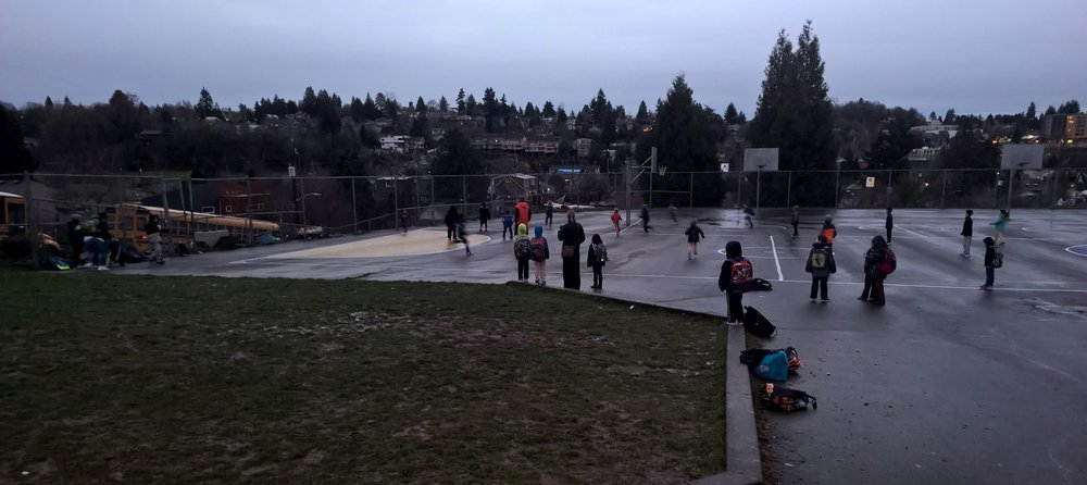 Typical Winter morning at the playground.