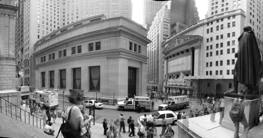 Wall Street, center of the US financial district