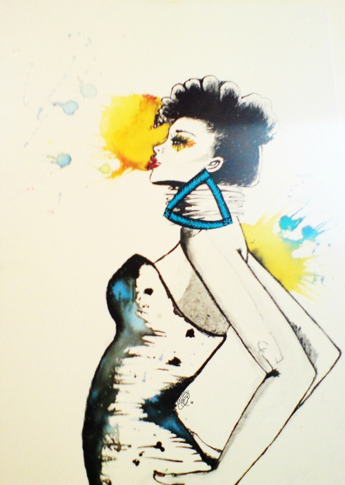 Afro Series, September 2008 - Ink and Fabric on Canvas