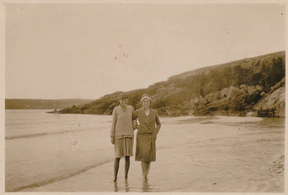 "Ca ption on back: ""Margaret & Gertrude at Gairloch [Wales] July 1929"""