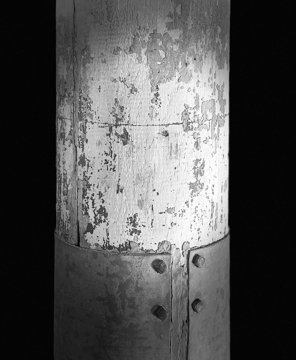 Detail of a support post, Mass MoCa, North Adams, MA.  ©2017seanwalmsley