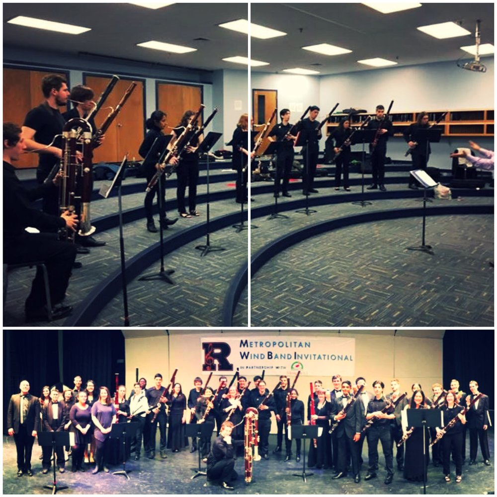 "Top: Warming up Bottom: The ""Get Lucky"" ensemble-- BACOUSTICS plus all MWBI High School bassoonists"
