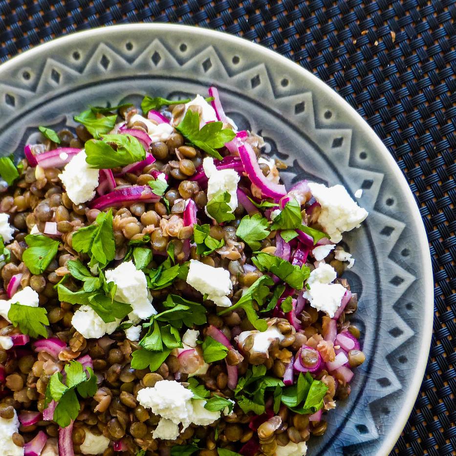 Du puy (linzen)salade met geitenkaas
