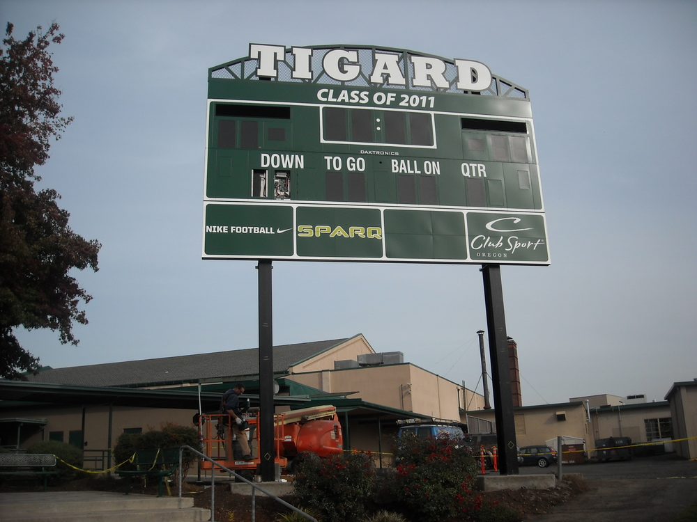 Frahler Electric is a committed member of the Tigard community and donated time and materials for the high school's scoreboard.