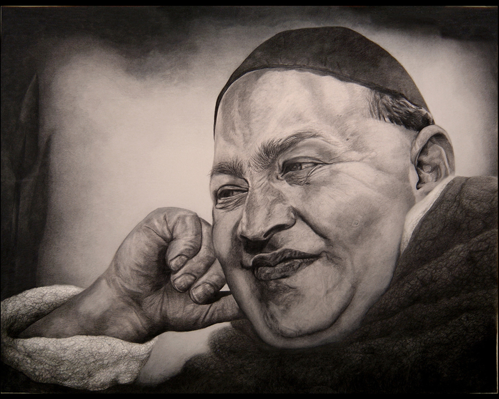 6ft x 4ft - pencil on canvas. Private collection.