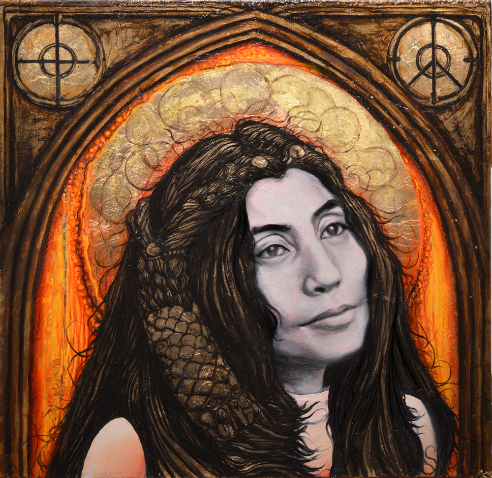 YOKO. Oil on Wood, 17 x 17