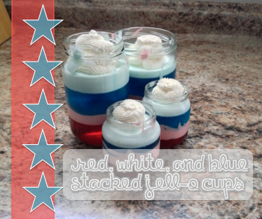 Red, White, and Blue Stacked Jell-O Cups