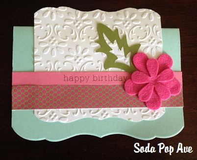 Embossed Happy Birthday Card with Felt Flowers.JPG