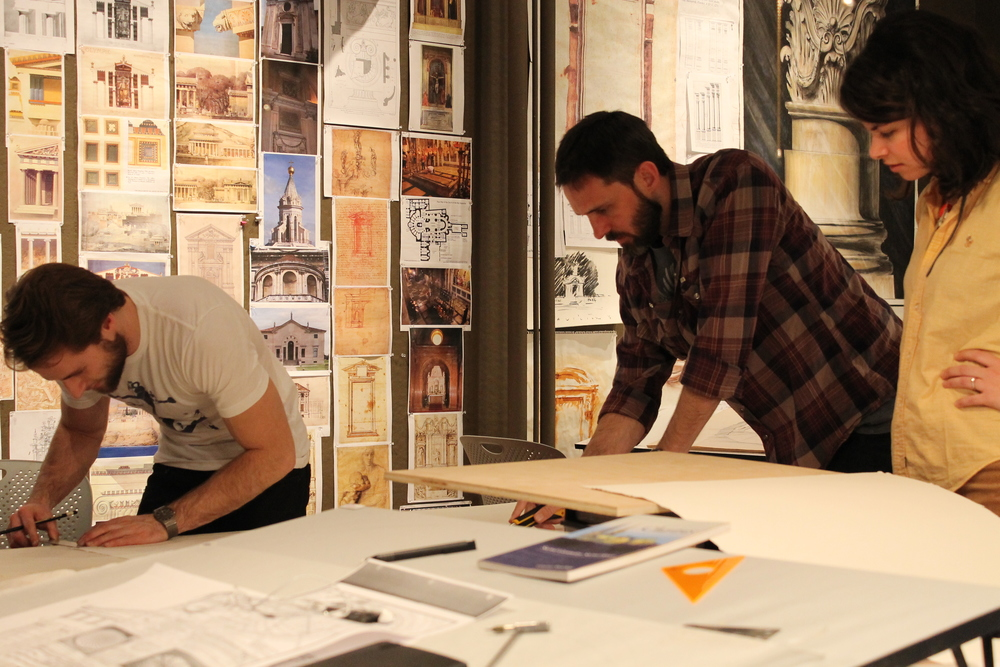 BAA '12 Students work together to complete their end-of-term projects: Peter Spalding, Ryan Hughes, and Nina Roefaro (L-R)