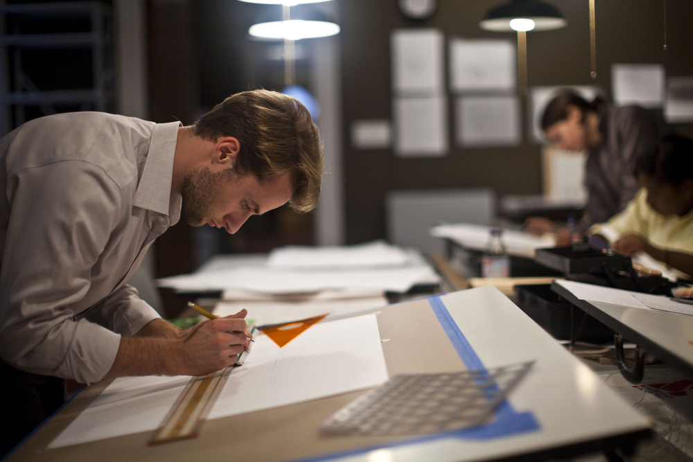 Back to the Drawing Board: Peter Spalding (BAA'12) works on his (re)design for New York City's Federal Hall in the 2011-2012 Design Studio.