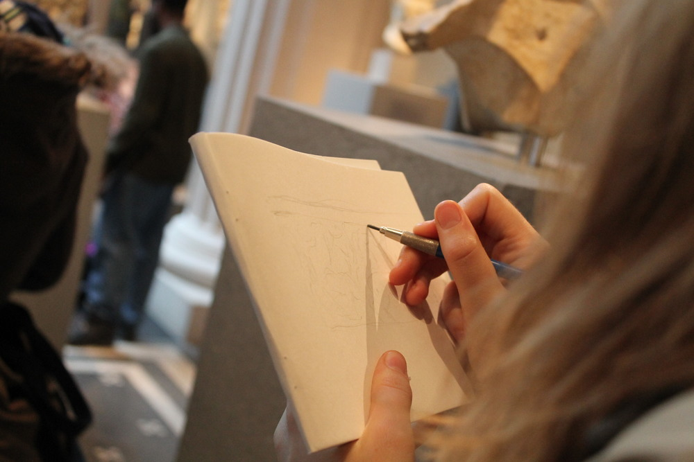 Look to the Past and it shall teach thee: Class of '13 student Abigail Tulis sketches an ancient Roman sarcophagi at the Metropolitan Museum of Art.