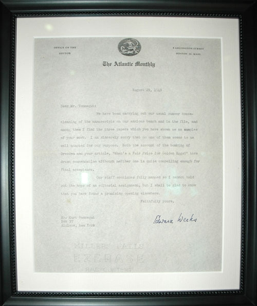 Photo (Vonnegut Rejection Letter):  Saturday Evening Post