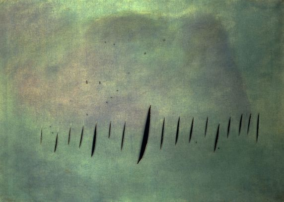 Lucio Fontana,  Concetto Spaziale, Attese , 1958 (image via mcachicago.org; click to enlarge)