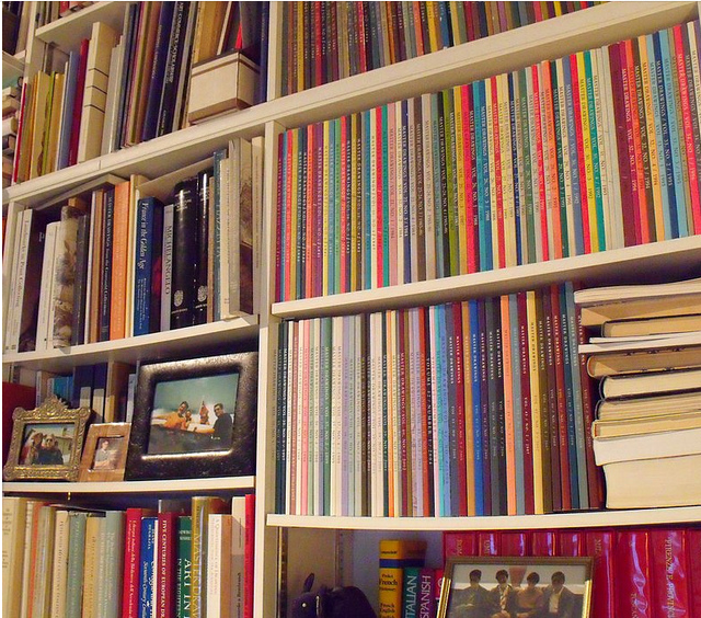 I have a great idea. Let's take all these books down, cut them up, and sell them as jewelry to people on the Internet. Credit: Flickr user maong. Used with a Creative Commons license.