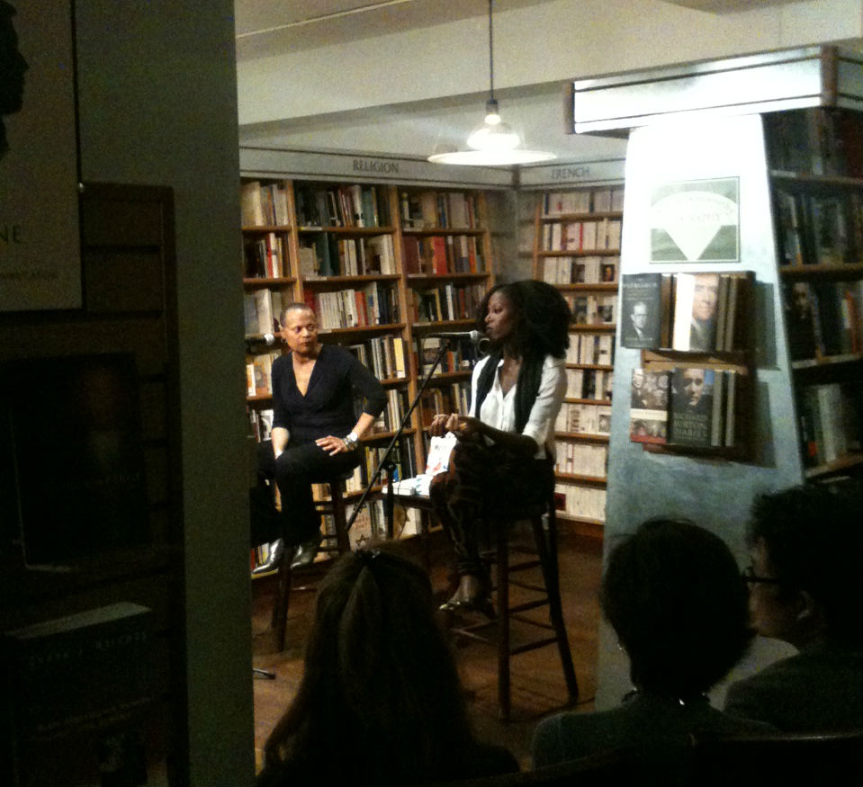 Sapphire and Taiye Selasi. Though you can't make them out here, both were wearing gold shoes.