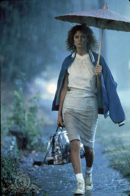 It's also worth mentioning that Susan Sarandon's wardrobe is thirft-store-bonkers in the best way (see: clear plastic purse, Chinatown umbrella, applique blouse, etc).