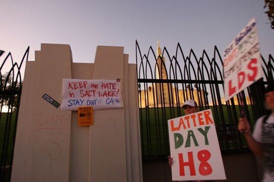 From the protests outside the large Mormon temple near UCLA in 2008, after Prop 8 passed.