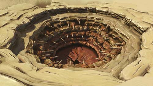 The Sarlacc pit, from Star Wars. Sure, it could be a sphincter, but either way, do NOT use the orifice, Luke.