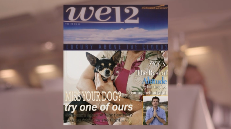 """We12: Luxury Above the Clouds. Miss your dog? Try one of ours. Outwest's latest in flight amenity -- a best friend for the flight. Plus: the best of Altitude (what they're reading behind you)."""