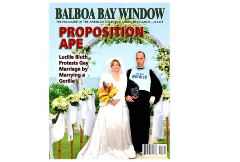"Finally, a new issue of Balboa Bay Window: The magazine of the American society of ladies who lunch -- a lot.  Coverline of the year is going to ""Proposition Ape."" Buster's pinney reads ""The New Normal?"" and they used the New Yorker's signature font for the magazine's tagline."