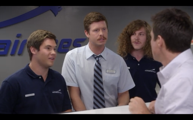 "From left to right: Adam DeVine, Anders Holm, and Blake Anderson (all of Workaholics) as ""the Airline Assholes."""