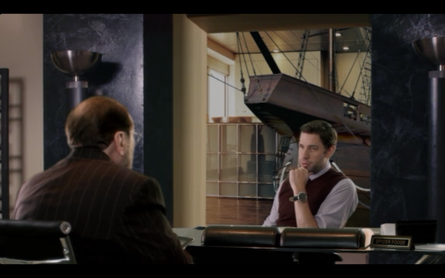 "John Krasinski as the douchey Bruckheimer film exec. ""You're not charring my tree."""