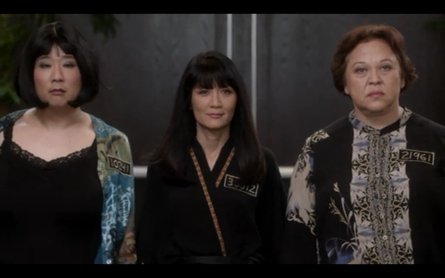 From left to right: Bobby Lee, Suzanne Wang, and Amy Hill as The Real Asian Prison Housewives of the Orange County White Collar Prison System.