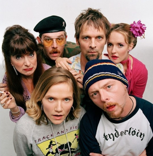 Hynes, Pegg and Frost mouth-breathing in a promo shot for Spaced.