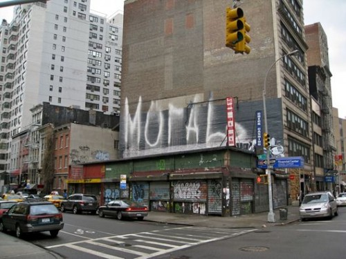 "Where the old, funny deli stood — the ""MOrAL"" being, learn how to spell ""vegetable"" (Credit: All following photographs by author)"