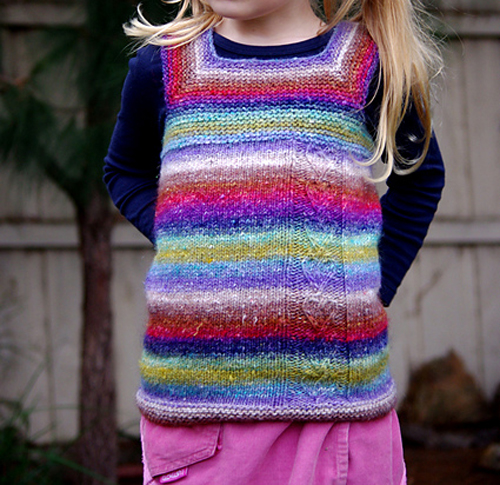 Noro, making a simple sweater vest look like rainbow magic (made by knitter Tiki from this Ravelry pattern).