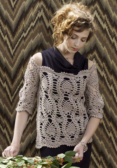 Free pattern for this open-weave sweater, but it's not for beginners (or the big-shouldered).