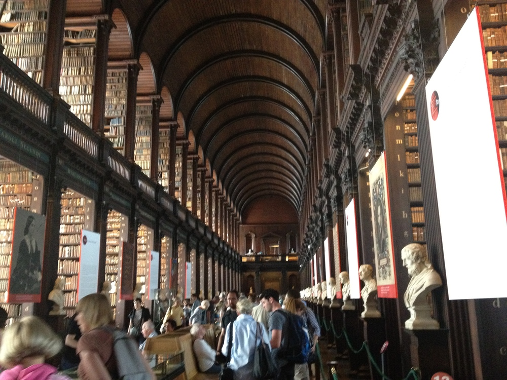 The Library at Trinity College (Dublin, Ireland)      Pretty spectacular. The rows and rows of antique tomes stacked against a backdrop of dark wood and white marble sets a tone that is nothing short of Hogwartsian. The library is also home to a permanent exhibition that features the Book of Kells, a medieval book of hours that may be the oldest bound book intact today. Trinity College is also the alma mater of writers like Jonathan Swift, Bram Stoker, Oscar Wilde, and Samuel Beckett.