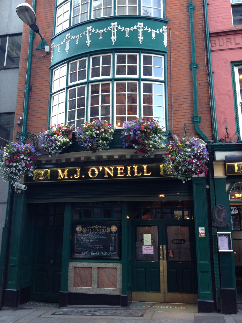 M.J. O'Neill's (Dublin, Ireland)    M.J. O'Neill's is a restaurant and pub located in central Dublin. It was a favorite haunt of famed Irish drinkers/writers James Joyce and Oscar Wilde. It's also known for its unique Victorian architecture and décor. The maze of rooms includes several nooks and hidden side-rooms that were meant for women to drink in secret when the Church forbade co-ed pubs.