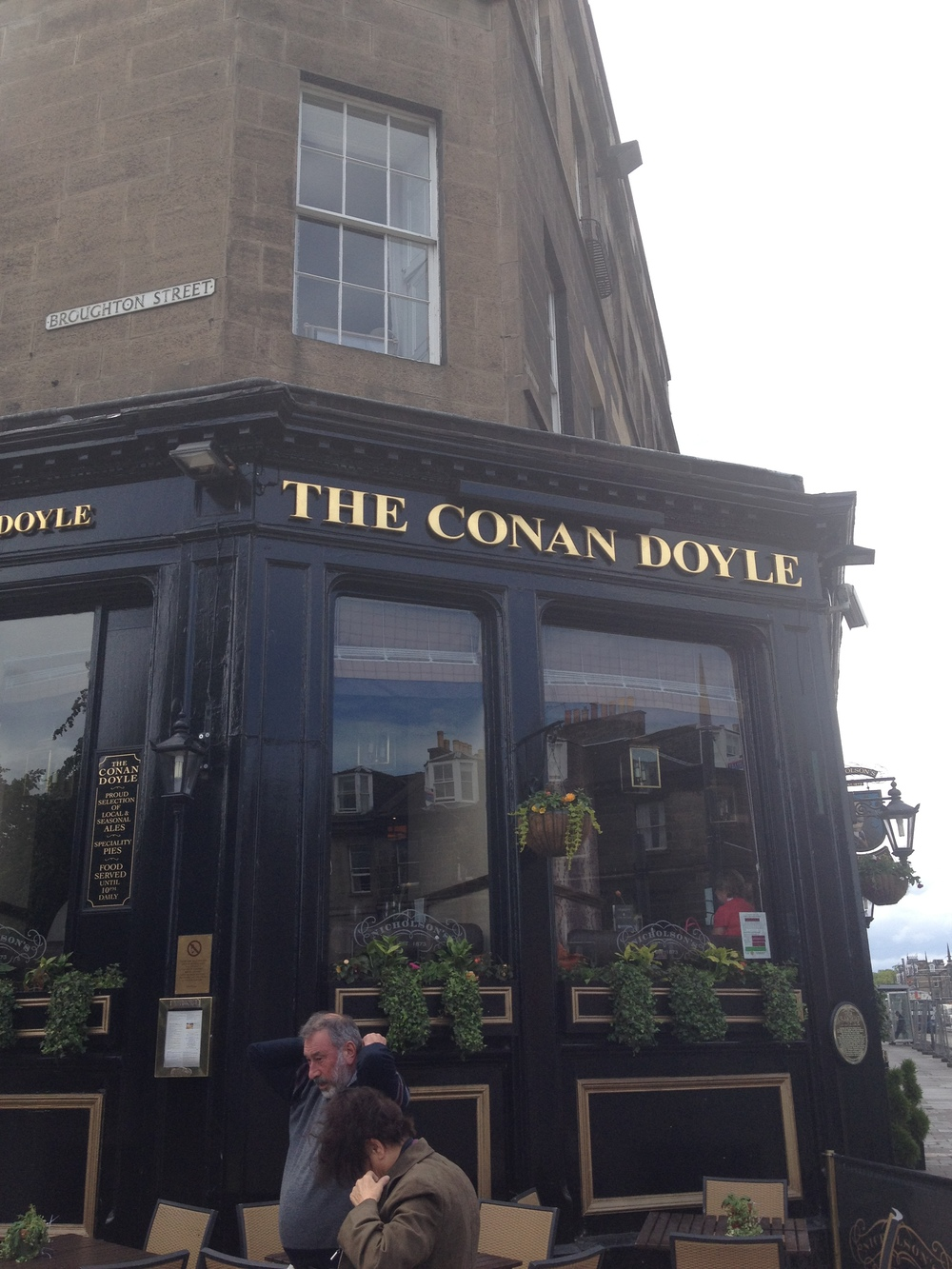 The Conan Doyle (Edinburgh, Scotland)  The Conan Doyle is a pub on Picardy Place in Old Town, Edinburgh dedicated to the life and writings of Sir Arthur Conan Doyle and all things Sherlock Holmes. Just across the way is the house Doyle was born in, but the pub is a far grander (and more comfortable) tribute. Their array of Scottish ales is only matched by the number of Holmes novels they have stacked on the wall-to-wall bookcases.