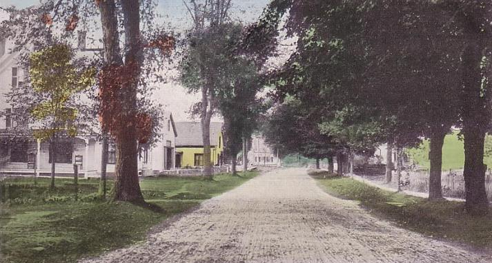 Gilmanton's High Street, circa 1910 — the only difference now is that the road is paved and there are probably four-wheelers in the driveways. (Credit: Image from Wikipedia, used with creative commons license)
