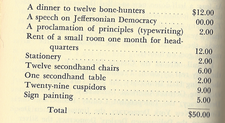 "Plunkitt's guide to creating new ""Democracies"" (his term for political parties): You just need some chairs and some bone hunters to feed. That's right: bone hunters. (Credit: Image from Plunkitt of Tammany Hall)"