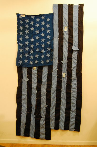 An American flag made by the author out of old work clothes (Credit: photo by author)