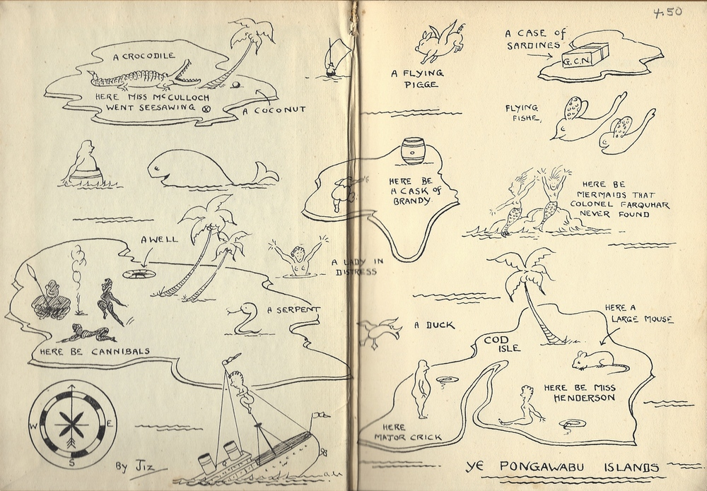 A map on inside cover of Really, Miss Henderson! Note: Not once in the book do we see flying fish, flying pigs, large mice, serpents, a well of water or a cask of brandy. Plenty of sexual frustration, though.