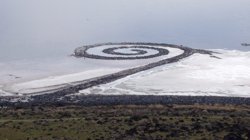"""Spiral Jetty"" by Robert Smithson (Credit: Image from Wikimedia Commons)"