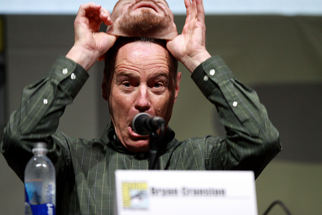 Breaking Bad's Bryan Cranston removing a Walter White mask at Comic Con (Credit: Image from Flickr user Gage Skidmore; used with Creative Commons license)